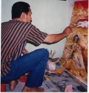Kris Adji AW di Studionya